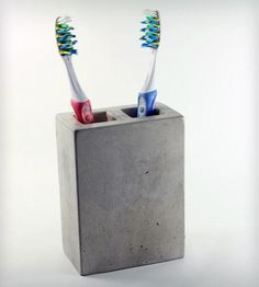 For the MASTER BATHROOM. Concrete Toothbrush Holder || Roughfusion || Scoutmob Shoppe