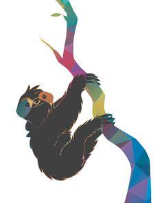 Geometric Colorful Sloth Art Print