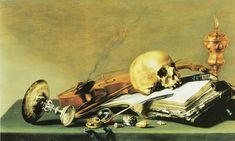 Pieter Claesz, 1629 - - - Open book, Skull, Violin, and Oil Lamp Vanitas Paintings, Vanitas Vanitatum, Dance Of Death, Momento Mori, Danse Macabre, Painting Still Life, Art Poses, High Art, Classical Art