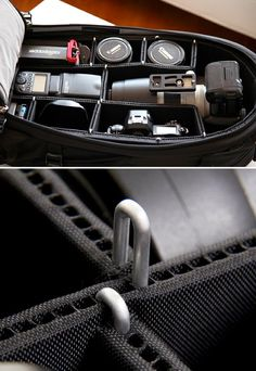 TrekPak........If you're serious about shooting photos or video or both, you know how important a good bag is for carrying your expensive gear. But even the best camera bags are not as adjustable as they should be. Enter TrekPak. This padded insert for camera bags and hard cases uses a pin system that allows you almost infinite adjustment for securing and organizing your gear.