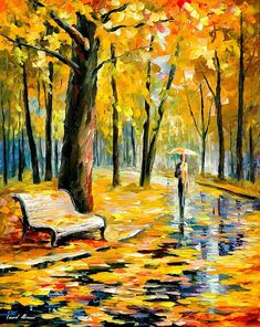 Oil Paintings Painting - Fall Rain - Palette Knife Oil Painting On Canvas By Leonid Afremov