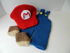 Nintendo Super Mario Inspired Baby Photo Prop Set by yankeerose