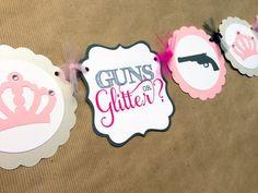 GUNS OR GLITTER  Gender reveal baby shower by papermeblossom, $20.00