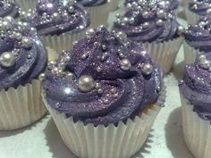 Bridal Shower - Purple Glitter Cupcakes w/ Edible Pearls. These are the prettiest cupcakes ever! Glitter Cupcakes, Purple Cupcakes, Pretty Cupcakes, Cupcake Cakes, Galaxy Cupcakes, Beautiful Cupcakes, Fancy Cupcakes, Princess Cupcakes, Food Cakes