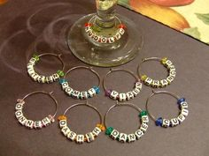 Beaded Wine Glass Charms by Lensia