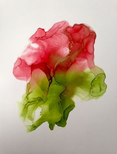 Red and green abstract alcohol ink painting by Linda Crocco