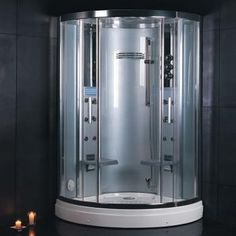 Steam Shower Unit With Steam Sauna Acupuncture Massage Cleaning Function Chromatherapy Lighting FM Radio 2 Folding Seats Ventilation Fan & 12 Body Massage Master Bath Shower, Steam Showers Bathroom, Bathtub Shower, Shower Doors, Bathrooms, Shower Panels, Master Bathroom, Steam Shower Units, Steam Shower Enclosure
