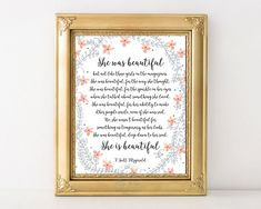 F Scott Fitzgerald, she was beautiful, printable quote, gift for her, she is beautiful, beautiful, inspirational quote, printable, wall art by AdornMyWall on Etsy