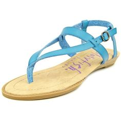 Blowfish Berg Women Thong Sandals ($33) ❤ liked on Polyvore featuring shoes, sandals, blue, toe thongs, blowfish shoes, flat thong sandals, blue shoes and vegan leather shoes