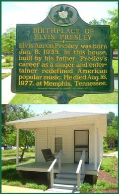 Birthplace of Elvis historical marker in Tupelo, Mississippi.