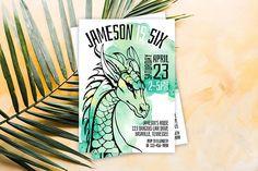 Dragon Invitation // Personalized Printable Green Watercolour Dragon Birthday Invitation // Dragon Invite // Fairytale Invite