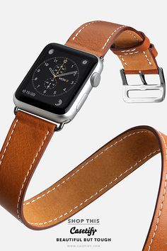 """Be Elegant"" Leather Double Tour Apple Watch Bands Shop them here Fossil Watches, Cool Watches, Watches For Men, Apple Watch Fashion, Leather Watch Bands, Apple Watch Leather Strap, Apple Watch Bands, Italian Leather, Quartz Watch"
