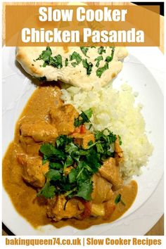 This easy recipe for a slow cooker chicken curry called a pasanda is simple and delicious. Mild and creamy with ground almonds, Indian spices and coconut milk, you'll make this over and over. Slow Cooker Chicken Korma, Slow Cooker Chicken Curry, Easy Chicken Curry, Easy Chicken Recipes, Indian Slow Cooker Recipes, Indian Food Recipes, Mild Curry Recipe, Chicken Jalfrezi Recipe, Slow Cooker Slimming World