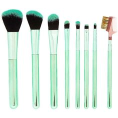 Forever21 Cosmetic Brush Set ($13) via Polyvore featuring beauty products, makeup, makeup tools, makeup brushes y mint