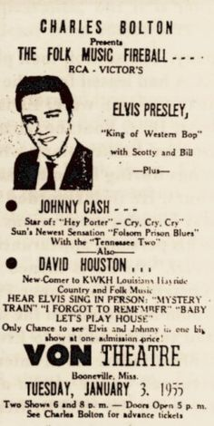 January 3, 1955 - Elvis plays a show at the Von Theater in Booneville,