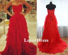 A Line Chiffon Abendkleider Rot von LoverDress auf DaWanda.com