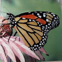Mosaic flower with butterfly