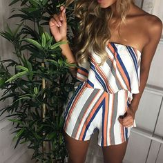 What a bangin' playsuitJump on and grab the 'Kate strapless playsuit in Multi Stripe' at www.stelly.com.au #stellyclothing #inlove #babe #playsuit #ootd #tan #summer