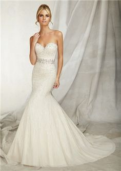 Gorgeous Trumpet /Mermaid Sweetheart Beading Embroidered Appliques Lace Wedding Dress