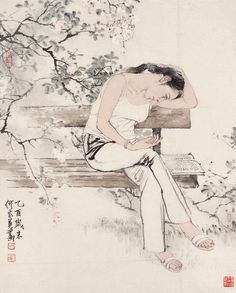 Art by He Jiaying - Rosie Chuong Sketch Painting, Artist Painting, China Art, Drawing Skills, Chinese Painting, Watercolor And Ink, Traditional Art, Japanese Art, Art Pictures