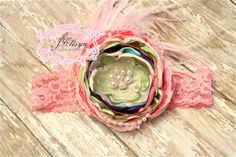 pink purple green spring and Easter headband by JElisynBoutique, $25.00