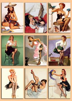 Digital collage sheet with 9 pinup girls image from the 1950s. ★ YOU WILL RECEIVE: - 1 A4 size sheet with 31tags in JPG format (US letter