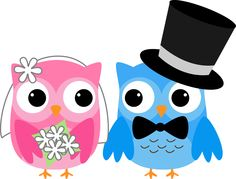 WEDDING OWLS CLIP ART