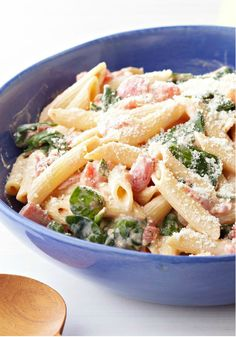 Creamy Spinach & Pasta Skillet -- Cream cheese, diced tomatoes and garlic give this quick, easy spinach and pasta skillet recipe its creamy sauce and terrific flavor.