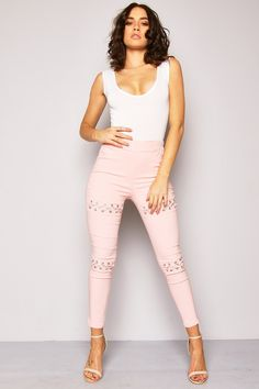 Pink Eyelet Lace Up Treggings - Leggings - Clothing  | LASULA
