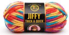 """Brightly colored """"thick and quick"""" yarn."""