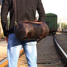 30c3ed5966 Overview: Design  Genuine Leather Mens Bucket Bag Cool Weekender Bag Travel  Bag Duffle Bags