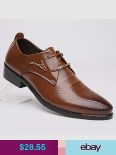 eea3264f22d7 Men s Pointed Leather Shoes Oxfords Business Formal Dress Casual Lace Up  Fashion