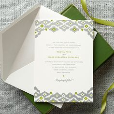 "Brides.com: . A Letterpress Invitation With an Ikat Design for a Bali Destination Wedding. ""Rachel"" invitation suite, starting at $1,030 for a set of 100, Claremont Collection  See more modern wedding invitations and stationery."