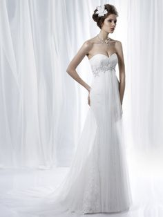 Strapless Sweetheart Tulle Overlay Mermaid Bridal Gown with Applique Empire Waist