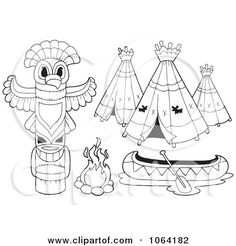 native american coloring pages printable clipart outlined native american camp items royalty free vector