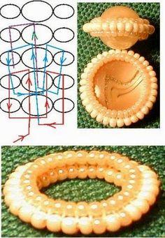 Un diverso modo per incastonare       Schema     MATERIALE:   rocailles   filo   ago     Fonte: http://biser.info/