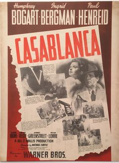 Casablanca 1942 Herald, staring Humphrey Bogart & Ingrid Bergman. This extremely rare herald is from the original release and features the much sought after US One Sheet poster artwork. Printed in the USA, the rear of this herald was intentionally left blank so that theatres could add their own show time information (see other image), This example is from the Coliseum Theatre in Kuala Lumpur. This item is available for purchase from our website, please contact us for more information.