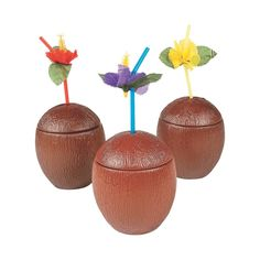 For a taste of the tropics, serve your beach party food and drinks from these Coconut Cups! Use these Hawaiian beach party cups at your next luau or birthday . Moana Birthday Party Theme, Spongebob Birthday Party, Moana Themed Party, Luau Party, Moana Party, Luau Theme, Hawaiian Birthday, Luau Birthday, Birthday Ideas