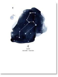 Leo Zodiac Constellation Print