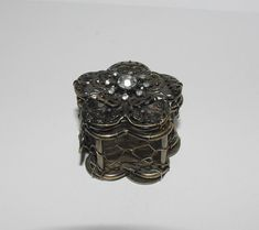 Metal Trinket Box with Clear Stones by StetsonCollectibles on Etsy