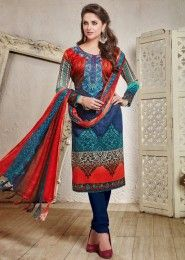 Casual Wear  Blue Pashmina Embroidered Work Straight Suit