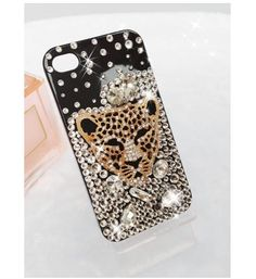 Handmade crystal diamond Sexy Leopard head case cover for iPhone 5