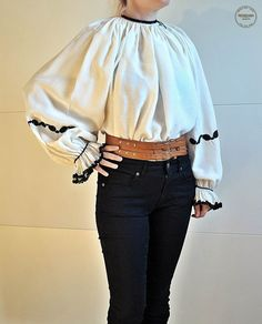 Vintage Romanian blouse / Transylvanian embroidered by Medreana, $120.00