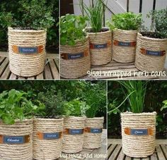 Low-budget and Easy Container Ideas For Herb Garden – HomeDesignInspired If You Have some Empty Coffee Cans, Reuse Them and Create a Sisal Wrapped Cans Garden Diy Garden, Garden Care, Garden Crafts, Herb Garden, Garden Projects, Diy Projects, Project Ideas, Coffee Can Crafts, Tin Can Crafts