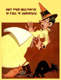 Remade Liberty Vintage Halloween Magazine Cover--Wacky Witch and Howling Black Cat