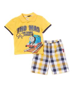 Look at this Yellow 'Thomas the Brave' Tee & Plaid Shorts - Toddler on #zulily today!