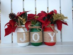 Christmas Mason Jar Decor, Rustic Christmas Jars, Mason Jar Christmas, Mantle Decorations, Christmas Decorations by NitesAtTheCraftTable on Etsy https://www.etsy.com/listing/487435807/christmas-mason-jar-decor-rustic