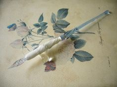 Lovely #vintage glass dip #pen in beautiful light blue. Please someone get me this...love it !! !! !! CB