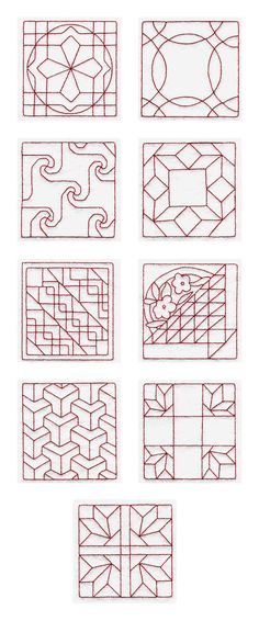Trapunto Quilt Blocks 4 Embroidery Machine Design Details
