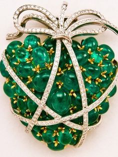 Verdura Emerald Heart- set with 47 emeralds, 208 diamonds and signed by Verdura
